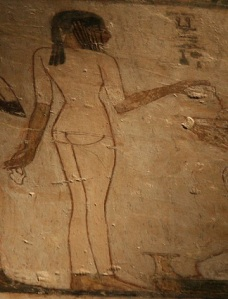 Girl turning her back. Tomb of Rekhmire. Ancient Egypt. Egyptian Art