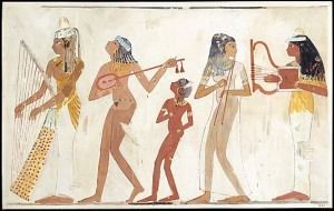 Music scene from the tomb of Djeserkaraseneb. XVIII Dynasty. Tempera of Charles. K. Wilkinson. Ancient Egypt.