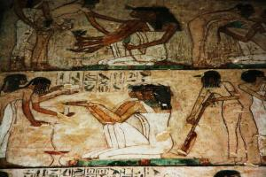 musician girls in Rekhmire's tomb. Ancient Egypt