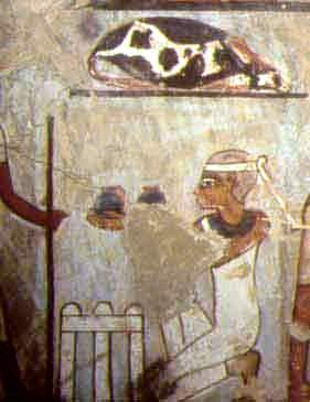 Offering make-up in the tomb of Sennefer. Gourna. Ancient Egypt.