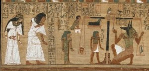 Papyrus of Ani. The couple in front of the final judgment. XIX Dynasty. British Museum. Ancient Egypt