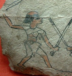 Ostraca from Louvre Museum with men with alopecia. Ancient Egypt