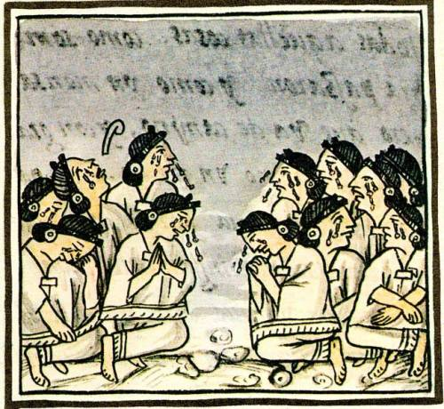 Aztec ritual weeping; Florentine Codex, Book 1.