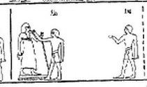 Sem priest opening the mouth with his little finger. Rekhmire. Ancient Egypt