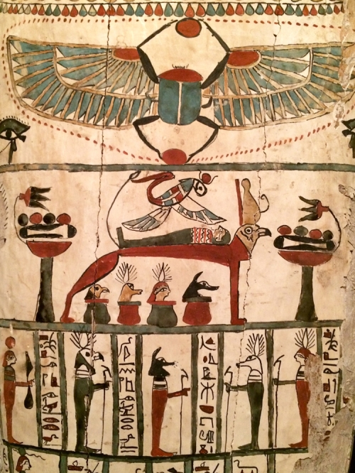 Coffin of Denit-Aset from Persian Period. Isis over the mummy. Ancient Egypt. Torontos Royal Ontario Museum