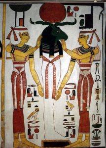Ram-Headed mummy (Re-Osiris) with Isis and Nephthys. Ancient Egypt. Tomb of Nefertari. XIX Dynasty.