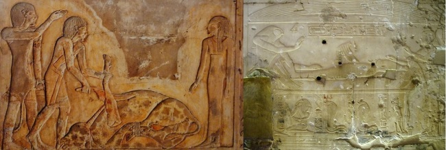 The mourner (left) and Isis the kite (right) in the decorative program of Sethos I. Ancient Egypt