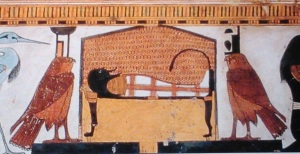 Isis and Nephthys flanking the corpse. Tomb of Nefertari. Ancient Egypt