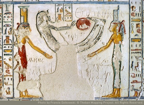 Isis and Nephthys with the rising Ositis and Re. Chapter four of the Book of the Cavverns. Tomb of Ramses V-VI. Ancient Egypt. thethebanmappingproject