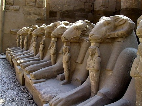 The Avenue of the Sphinxes in Karnak. Ancient Egypt. www.dailymail.co.uk