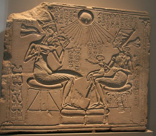Akhenaten, Nefertiti and their three Daughters. Altes Museum in Berlin. Photo: Mª Rosa Valdesogo. Ancient Egypt
