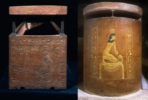Sarcophagi of Hatshepsut and Amenhotep II. Ancient Egypt