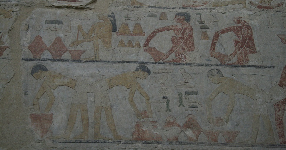 Making Bread. Mastaba of Ty in Saqqara. V Dynasty. Photo Mª Rosa Valdesogo. Ancient Egypt